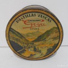 Cajas y cajitas metálicas: ANTIGUA CAJA REDONDA, PASTILLAS VASCAS, ESPECIALIDADES GOYA, VITORIA. Lote 135246562