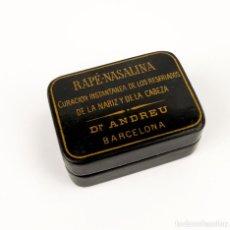 Cajas y cajitas metálicas: DR.ANDREU-BARCELONA- CAJA EN PAPEL MACHIER LACADA DE RAPÉ-NASALINA- C.1930. Lote 135281578