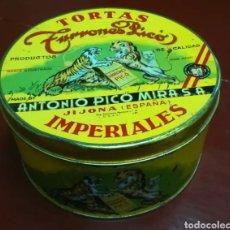 Cajas y cajitas metálicas: CAJA LATA TORTAS IMPERIALES TURRONES PICO. Lote 135440945
