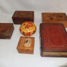 Cajas y cajitas metálicas: VIEJO CONJUNTO DE 5 CAJAS DE MADERA Y CUERO CAJA 1 - MADERA Y CUERO. Lote 135706463