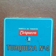 Cajas y cajitas metálicas: CAJA CIGARROS TURQUESA. Lote 135855885