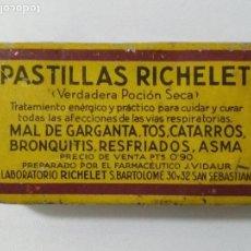 Cajas y cajitas metálicas: CAJA CHAPA FARMACIA LITOGRAFIADA, PASTILLAS RICHELET, MEDIDAS 7 X 4 CM. Lote 135902986