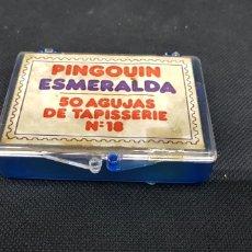 Cajas y cajitas metálicas: CAJA PLASTICO PARA AGUJAS PINGOUIN ESMERALDA - CAR115. Lote 136238352