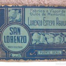 Cajas y cajitas metálicas: ANTIGUA TAPA DE HOJALATA PARA CAJA - SAN LORENZO - DULCE DE MEMBRILLO - PUENTE GENIL.. Lote 136475398