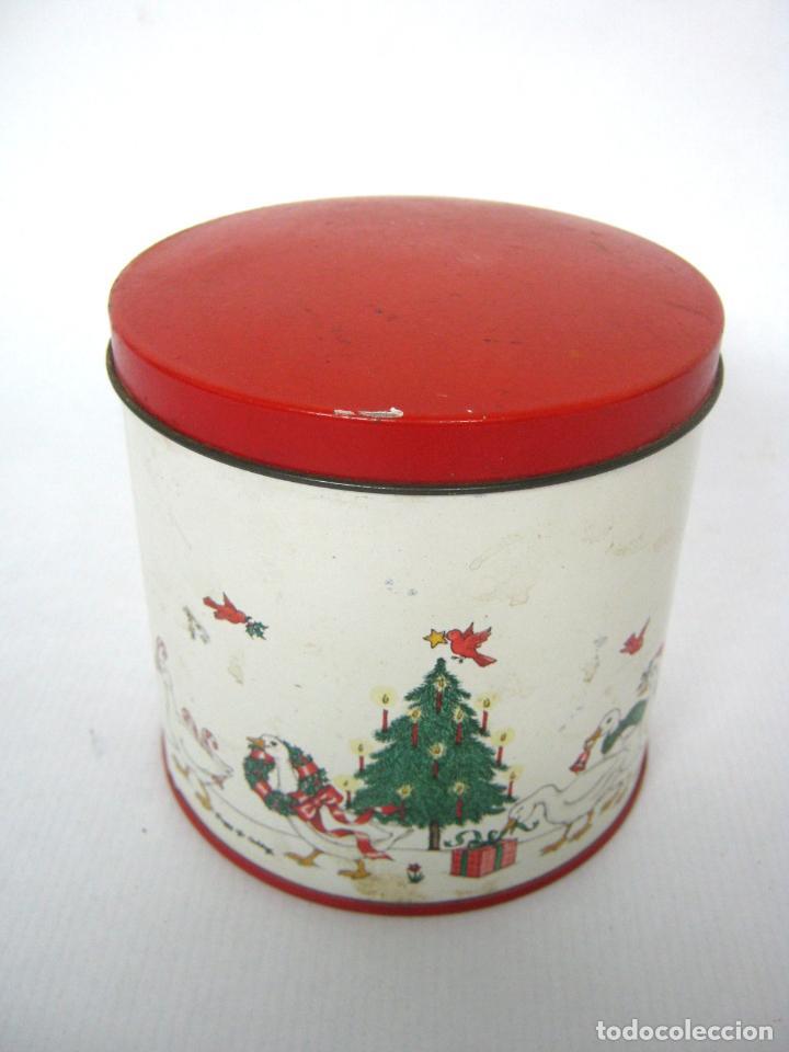 Cajas y cajitas metálicas: Antigua caja chapa de metal LITOGRAFIADA - Navidad ocas Arbol - Foto 2 - 136643758