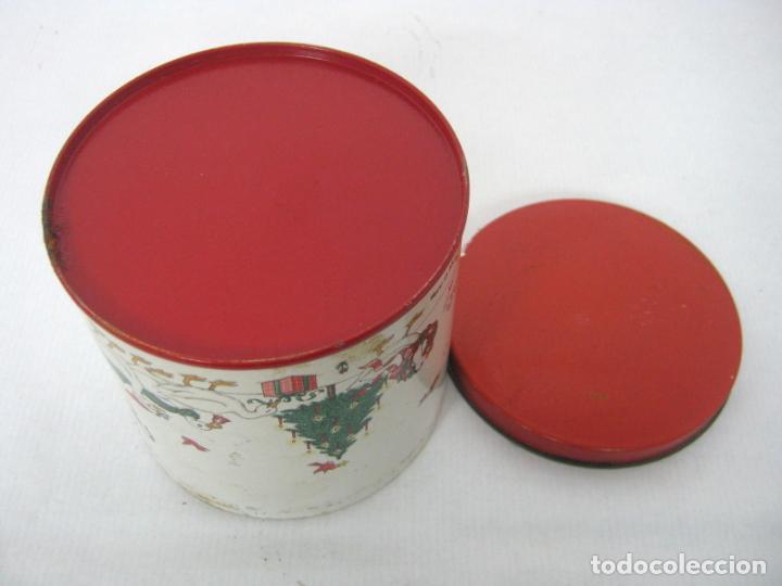 Cajas y cajitas metálicas: Antigua caja chapa de metal LITOGRAFIADA - Navidad ocas Arbol - Foto 3 - 136643758
