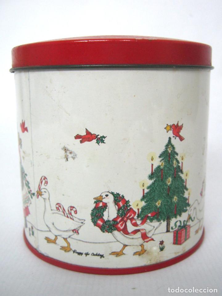 Cajas y cajitas metálicas: Antigua caja chapa de metal LITOGRAFIADA - Navidad ocas Arbol - Foto 4 - 136643758