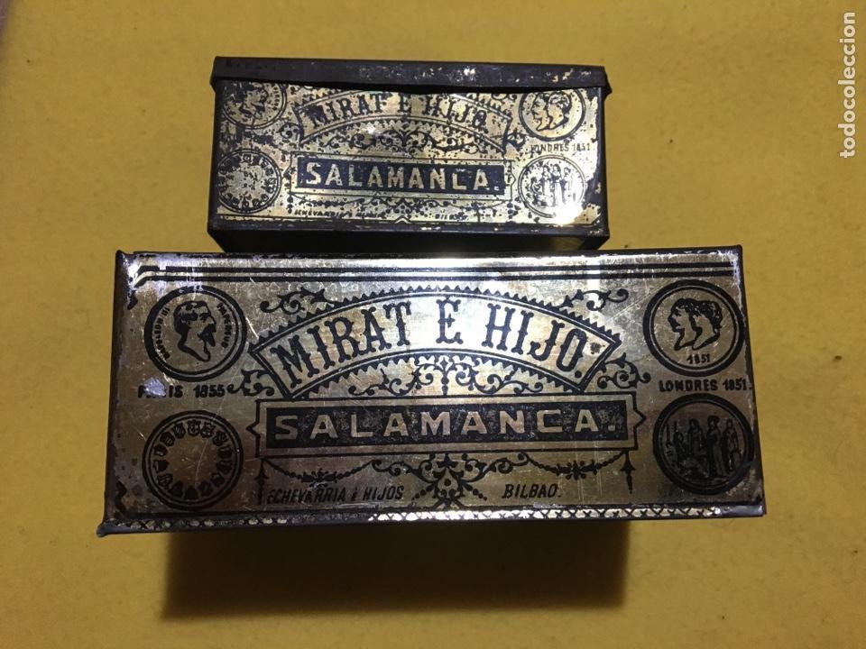CAJA HOJALATA SALAMANCA MIRAT E HIJO (Coleccionismo - Cajas y Cajitas Metálicas)