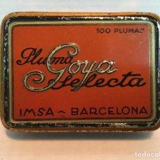 Cajas y cajitas metálicas: ANTIGUA CAJA DE PLUMILLAS GOYA. Lote 137864450