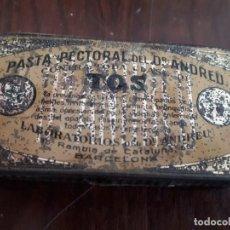 Cajas y cajitas metálicas: CAJITA METÁLICA PASTA PECTORAL DORTOR ANDREU. TOS.. Lote 138833582