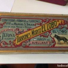 Cajas y cajitas metálicas: CAJA DE CHAPA TURRONES EL LOBO. JIJONA , ALICANTE. Lote 139033814