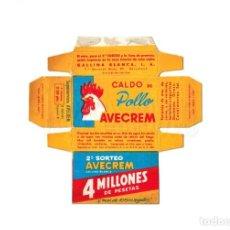 Cajas y cajitas metálicas: ANTIGUA CAJA CAJITA ENVASE CARTÓN PASTILLAS DE CALDO DE POLLO AVECREM MINIATURA. Lote 226137406