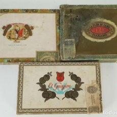 Cajas y cajitas metálicas: LOTE DE 3 CAJAS DE PUROS. VARIAS MARCAS Y TAMAÑOS. MADERA. SIGLO XX.. Lote 140232150