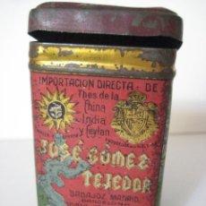 Cajas y cajitas metálicas: CAJA METÁLICA DE TÉ, JOSÉ GÓMEZ TEJEDOR, AÑOS 30. Lote 140546450