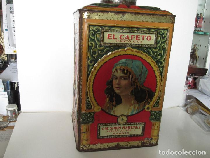 ANTIGUA LATA GRANDE DE CAFÉS EL CAFETO, AÑOS 30 (Coleccionismo - Cajas y Cajitas Metálicas)