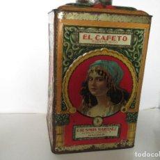 Cajas y cajitas metálicas: ANTIGUA LATA GRANDE DE CAFÉS EL CAFETO, AÑOS 30. Lote 140645630