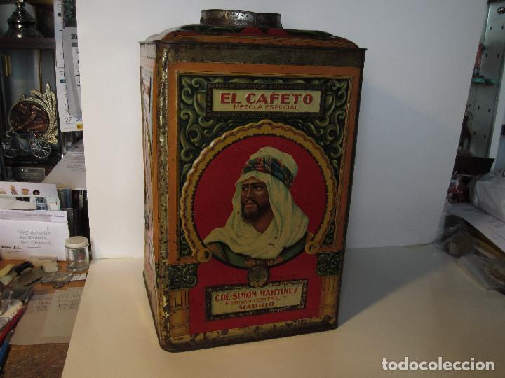 Cajas y cajitas metálicas: ANTIGUA LATA GRANDE DE CAFÉS EL CAFETO, AÑOS 30 - Foto 2 - 140645630