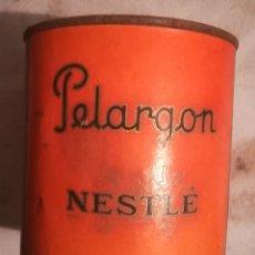 Cajas y cajitas metálicas: ANTIGUO BOTE LECHE PELARGÓN NESTLÉ - SELLO COLEGIO HUÉRFANOS FARMACÉUTICOS - CA. 1950. Lote 140656130