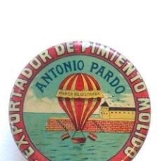 Cajas y cajitas metálicas: CAJA DE HOJALATA LITOGRAFIADA DE «ANTONIO PARDO». G DE ANDREIS. Lote 140899714
