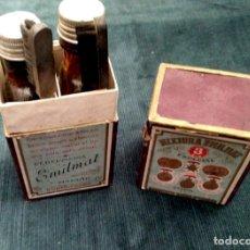 Cajas y cajitas metálicas: ANTIGUA CAJA, DOS FRASCOS Y DOS CEPILLOS TINTE PARA EL PELO MISTURA EMILMAT. MADRID. 1900-1930. Lote 140904746