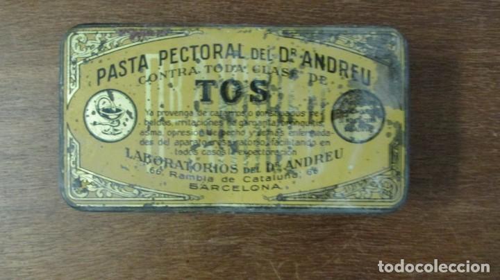 CAJA FARMACIA MEDICINA PASTA PECTORAL TOS DR ANDREU BARCELONA (Coleccionismo - Cajas y Cajitas Metálicas)