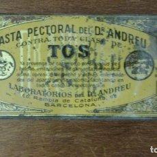 Cajas y cajitas metálicas: CAJA FARMACIA MEDICINA PASTA PECTORAL TOS DR ANDREU BARCELONA. Lote 141339970