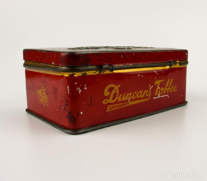 Cajas y cajitas metálicas: Antigua caja metal litografiado - Duncan's Tofee Edimburgo - Foto 2 - 141578958