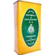 Cajas y cajitas metálicas: CAJA LATA POLVORA P. S. B. 250 GR. UNION ESPAÑOLA DE EXPLOSIVOS LUGONES Y CAYES ASTURIAS AÑOS 40. Lote 203636982