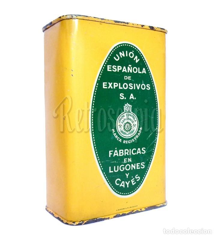 CAJA LATA POLVORA P. S. B. 500 GR. UNION ESPAÑOLA DE EXPLOSIVOS LUGONES Y CAYES ASTURIAS AÑOS 40 (Coleccionismo - Cajas y Cajitas Metálicas)