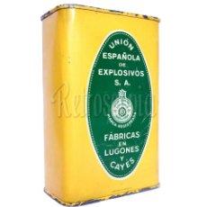 Cajas y cajitas metálicas: CAJA LATA POLVORA P. S. B. 500 GR. UNION ESPAÑOLA DE EXPLOSIVOS LUGONES Y CAYES ASTURIAS AÑOS 40. Lote 276406543