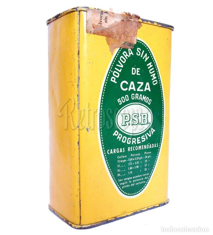 Cajas y cajitas metálicas: CAJA LATA POLVORA P. S. B. 500 GR. UNION ESPAÑOLA DE EXPLOSIVOS LUGONES Y CAYES ASTURIAS AÑOS 40 - Foto 2 - 193946897