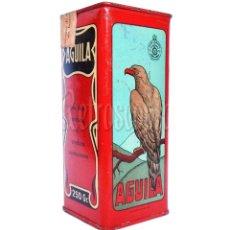 Cajas y cajitas metálicas: CAJA / LATA POLVORA AGUILA 250 GR. UNION ESPAÑOLA DE EXPLOSIVOS LUGONES ASTURIAS AÑOS 50 ANDREIS. Lote 277182663