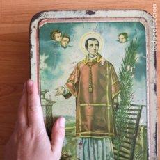 Cajas y cajitas metálicas: LATA HOJALATA NATA DE MEMBRILLO DE SAN LONRENZO DE LOS AÑOS 40. PUENTE GENIL. Lote 143979832