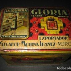 Cajas y cajitas metálicas: CAJA METAL LA COCINERA GLORIA. AZAFRANES Y ESPECIAS. SALVADOR MOLINA IBAÑEZ. MURCIA. Lote 144409530