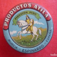 Cajas y cajitas metálicas: ESPINARDO (MURCIA). PRODUCTOS 'ATILA'. PEQUEÑO ESTUCHE PARA MUESTRAS DE PIMENTÓN. DIÁMETRO 5,5 CM.. Lote 145259750