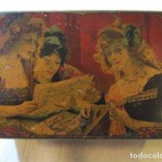 Cajas y cajitas metálicas: MUY ANTIGUA CAJA DE LATA LITOGRAFIADA - INDUSTRIA METALGRAFICA TINTORE OLLER - BARCELONA. Lote 147159650