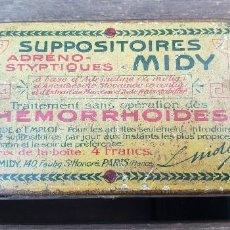 Cajas y cajitas metálicas: ANTIGUA CAJA (CAJITA) METALICA SUPPOSITOIRES MIDY (HEMORRHOIDES). Lote 147404642