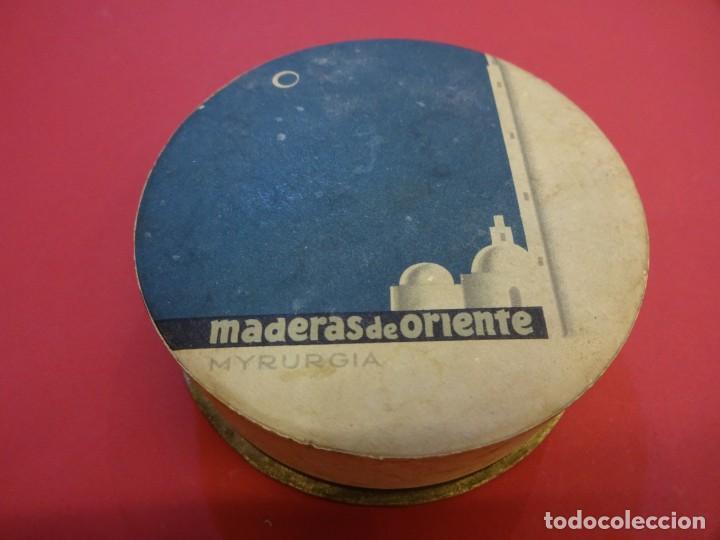 POLVERA. MADERAS DE ORIENTE. SIN USO. MYRURGIA (Coleccionismo - Cajas y Cajitas Metálicas)