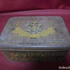 Cajas y cajitas metálicas: MAGNIFICA ANTIGUA CAJA DE HOJALATA LITOGRAFIADA ARRONIZ,LOGROÑO. Lote 147595094