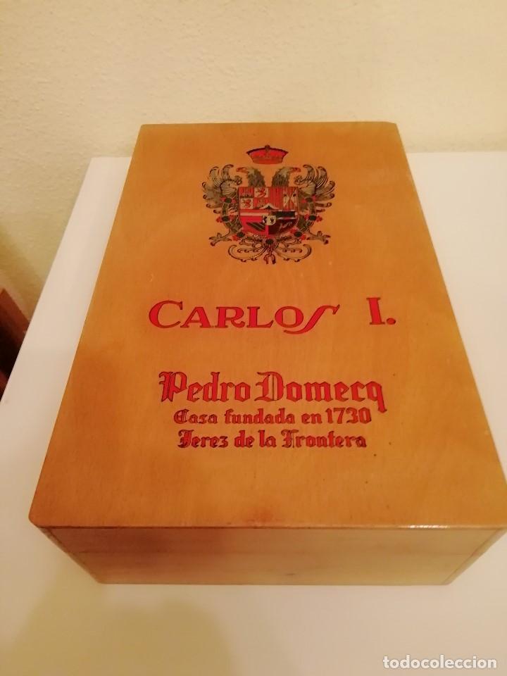 CAJA DE MADERA CARLOS I - PEDRO DOMECQ (VACIA) (Sammelleidenschaft Objekte - Blechdosen und Kisten)