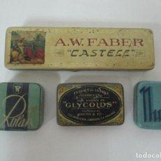 Cajas y cajitas metálicas: LOTE 4 CAJAS, CAJITAS METÁLICAS - NURIA, ROLAN, GLI COLDS, A.W. FABER CASTELL. Lote 148180690