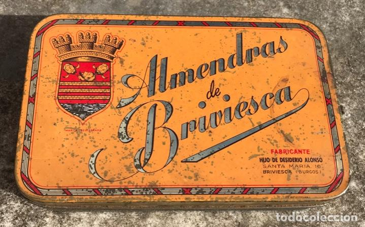 CAJA METÁLICA ALMENDRAS DE BRIVIESCA (BURGOS) - HIJO DE DESIDERIO ALONSO (Coleccionismo - Cajas y Cajitas Metálicas)