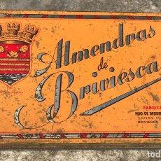 Cajas y cajitas metálicas: CAJA METÁLICA ALMENDRAS DE BRIVIESCA (BURGOS) - HIJO DE DESIDERIO ALONSO . Lote 149698566