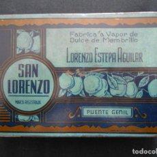 Cajas y cajitas metálicas: ANTIGUA CAJA METALICA DE DULCE DE MEMBRILLO SAN LORENZO - LORENZO ESTEPA AGUILAR - PUENTE GENIL. Lote 150129506