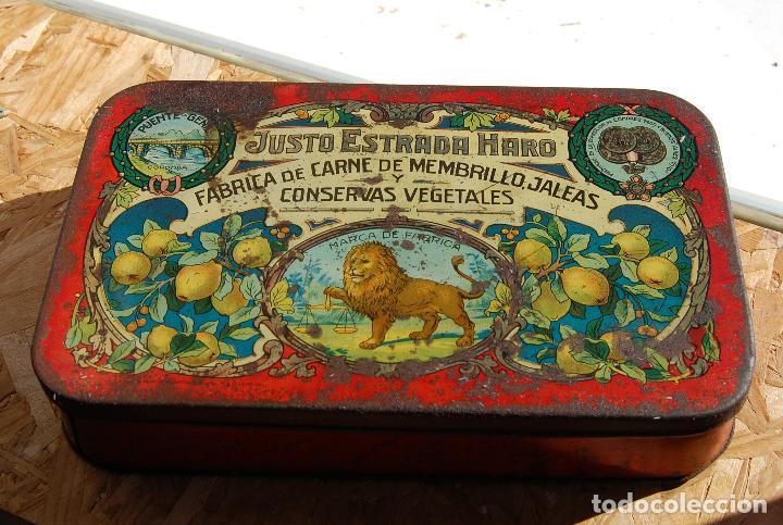 CAJA DE CHAPA LATA JUSTO ESTRADA HARO PUENTE GENIL // FÁBRICA DE CARNE MEMBRILLO, JALEAS CONSERVAS (Coleccionismo - Cajas y Cajitas Metálicas)
