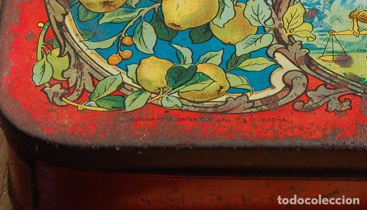 Cajas y cajitas metálicas: CAJA DE CHAPA LATA JUSTO ESTRADA HARO PUENTE GENIL // FÁBRIcA DE CARNE MEMBRILLO, JALEAS CONSERVAS - Foto 2 - 150309538