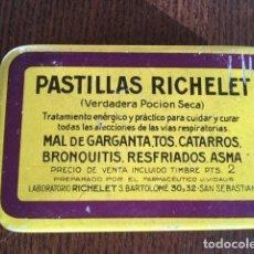 Cajas y cajitas metálicas: CAJA METÁLICA DE PASTILLAS RICHELET 1923. Lote 150433874
