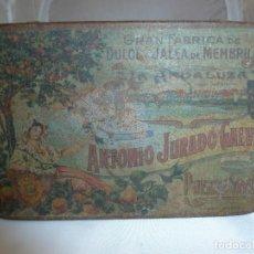 Cajas y cajitas metálicas: CAJA DE LATA DULCE DE MEMBRILLO LA ANDALUZA ANTONIO JURADO GALVEZ. Lote 150580722