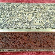 Cajas y cajitas metálicas: CAJA JOYERO. BRONCE CINCELADO. ESCENAS DE BATALLA EGIPCIAS. SIGLO XIX-XX. . Lote 151211334