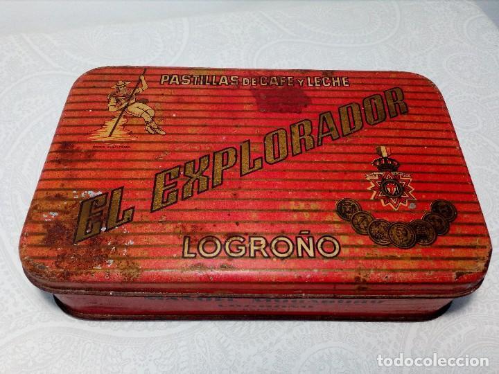 CAJA METALICA EL EXPLORADOR LOGROÑO PASTILLAS DE CAFÉ Y LECHE (MANUEL MUGABURU LOGROÑO) (Coleccionismo - Cajas y Cajitas Metálicas)